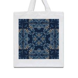 Dark blue clematis art nouveau square Tote Bag