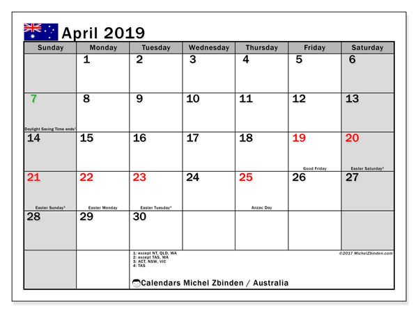 april 2019 calendar with holidays australia | Monthly ...