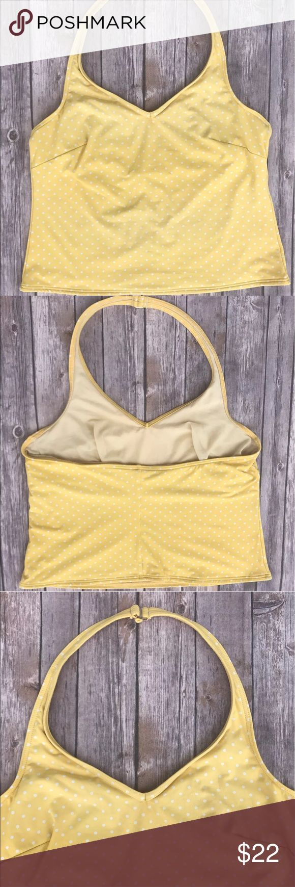 """LANDS END tankini Swimsuit top Polka Dot yellow 16 LANDS END Sz 18 Womens Yellow Polka Dot Tankini Top Swimsuit Plus Halter Bathing   Very cute yellow polka dot Lands End women's tankini bathing suit top. Size 16. Halter top.  Size: 16  Bust: 19""""  Length: 26""""  Built in bra. No padding.  Material: 76% nylon/24% spandex Lands' End Swim Bikinis"""