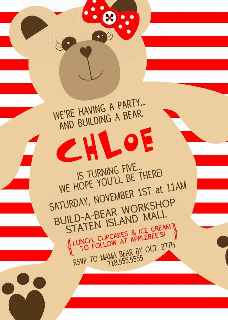 Build-A-Bear Inspired Invitation, Build a Bear Invitation, Girl Bear Invitation, Boy Bear Birthday Invite, Build a Bear, Teddy Bear Invite by ThePartyFavorDiva on Etsy https://www.etsy.com/listing/92275007/build-a-bear-inspired-invitation-build-a
