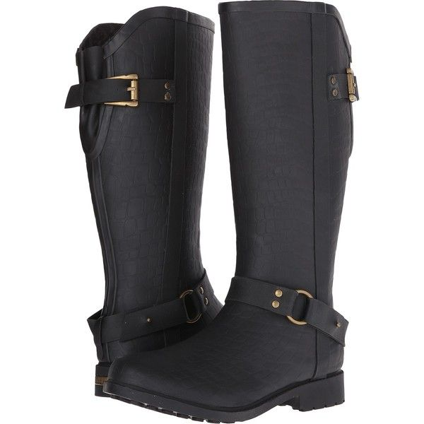 Chooka Brindle Rain Boot (Black) Women's Rain Boots ($40) ❤ liked on Polyvore featuring shoes, boots, black, knee-high boots, black rain boots, wellington boots, black boots, rain boots and black low heel boots