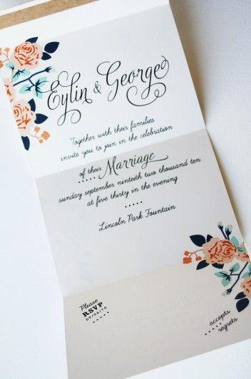 Tea Roses Bow-Tie Wedding Invitation. $3.85, via Etsy.