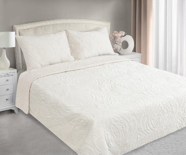 Krémový přehoz na postel s potiskem