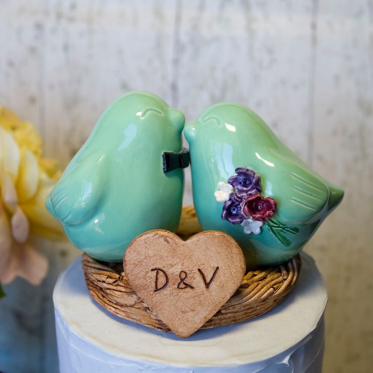Mint Green Love Bird Cake Topper by DanceswithClay on Etsy https://www.etsy.com/listing/125218604/mint-green-love-bird-cake-topper