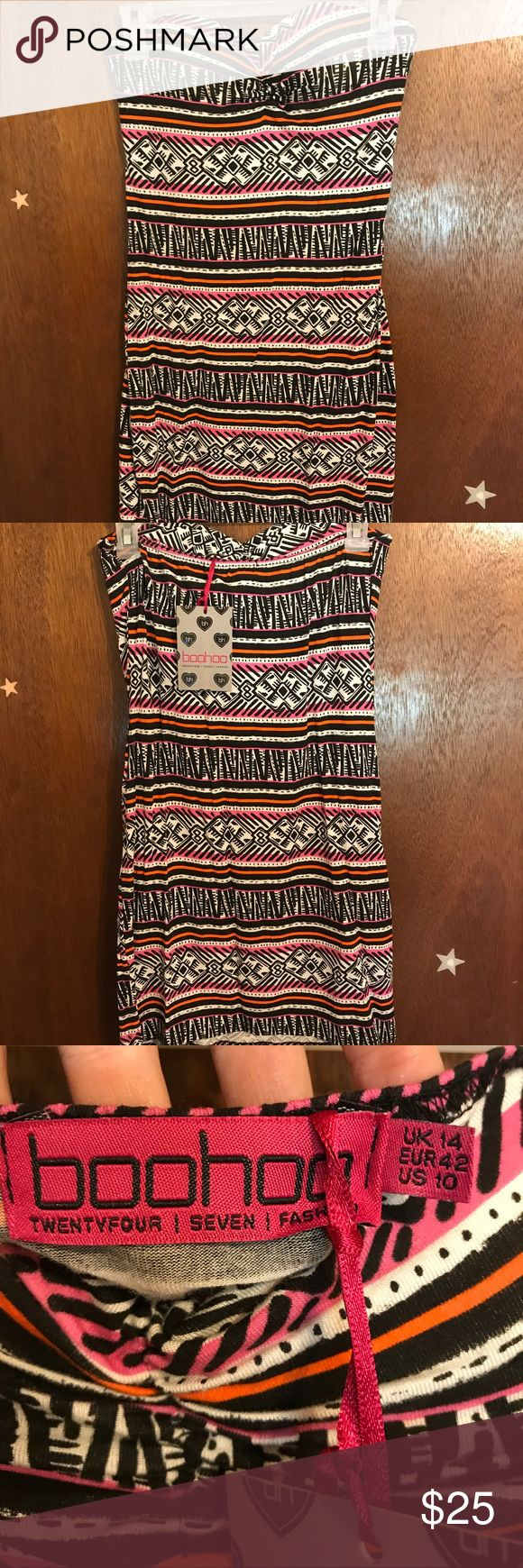 "BooHoo - Junior's Strapless Tribal Print Dress Brand New, never worn. No snags, holes, or rips. Woman's US size 10. 27"" in length. A/B size on the cup. Boohoo Dresses Strapless"