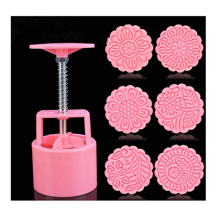 Round Shape Moon Cake Pastry Mold Hand Pressure 100g One Barrel 6 Flower piece baking mold for Mid-Autumn