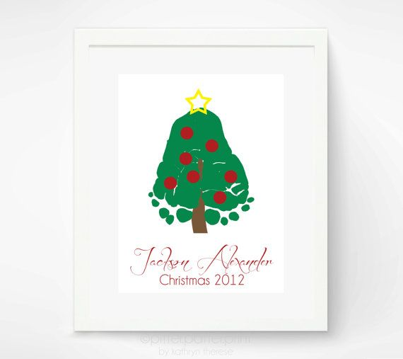 Baby's First Christmas - Baby Footprint Christmas Tree - Personalized Christmas Decor - Kids Holiday Home Decor on Etsy, $30.00