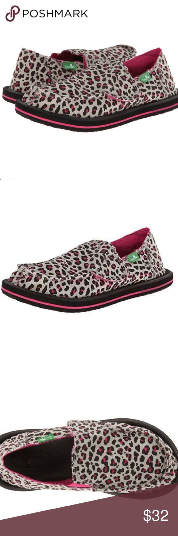 🆕Sanuk Black/Fuchsia Cheetah, 5 M Big Kids Features Textile Imported Synthetic sole Animal print canvas slip-on with cotton canvas lining High rebound molded ethylene vinyl acetate footbed featuring aegis antimicrobial additive Happy u rubber sponge outsol Sanuk Shoes