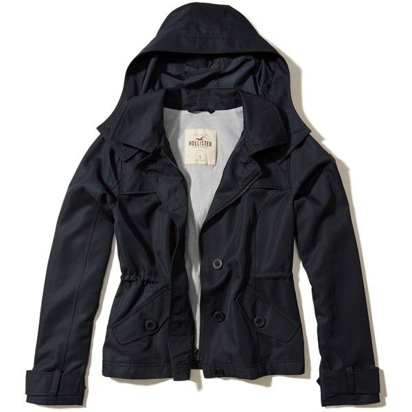 Hollister Hooded Short Trench Coat ($70) ❤ liked on Polyvore featuring outerwear, coats, navy, twill trench coat, blue coat, button coat, button trench coat and hooded coat