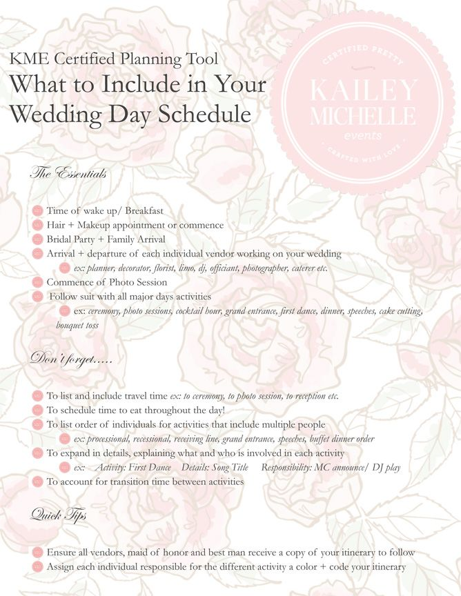 Wonderful tips to consider as you brainstorm what should be included on your wedding day timeline!  www.karasvineyardwedding.com/wedding-day-timeline