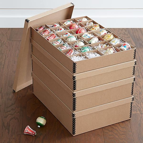 Archival Ornament Storage Boxes The Container Store Holiday Storage Ornament Storage Box Ornament Storage