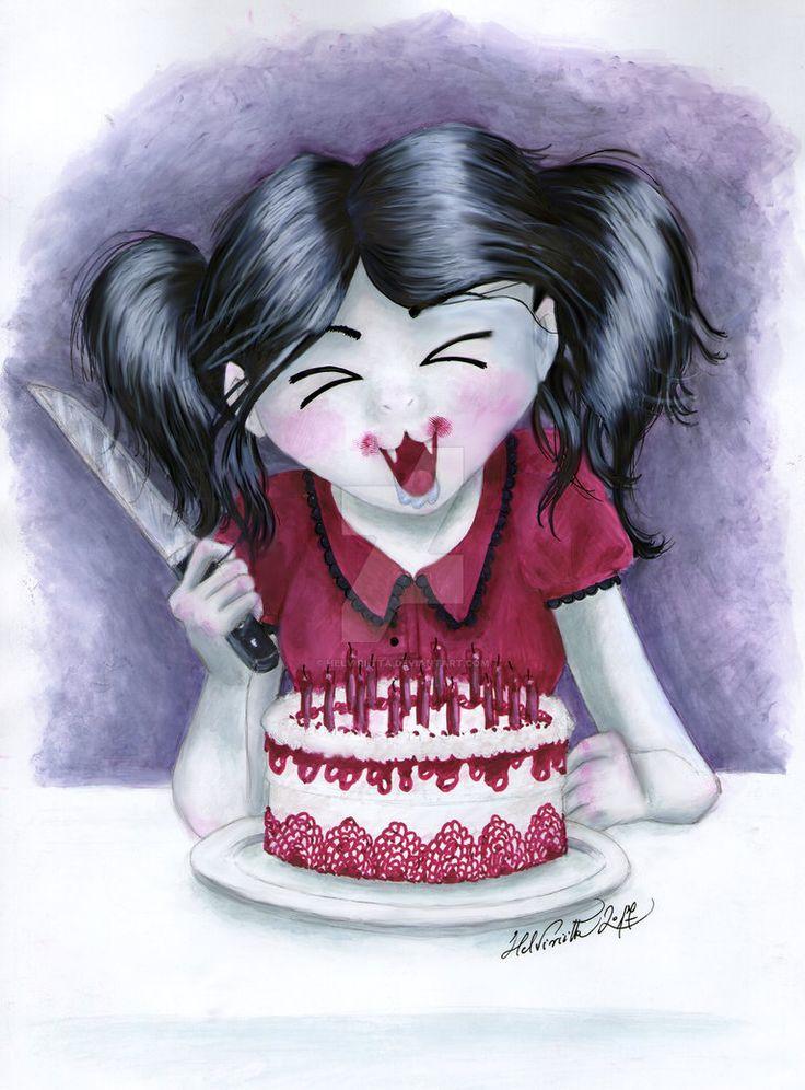 Birthday Vampire Girl by Helviriitta.deviantart.com on @DeviantArt