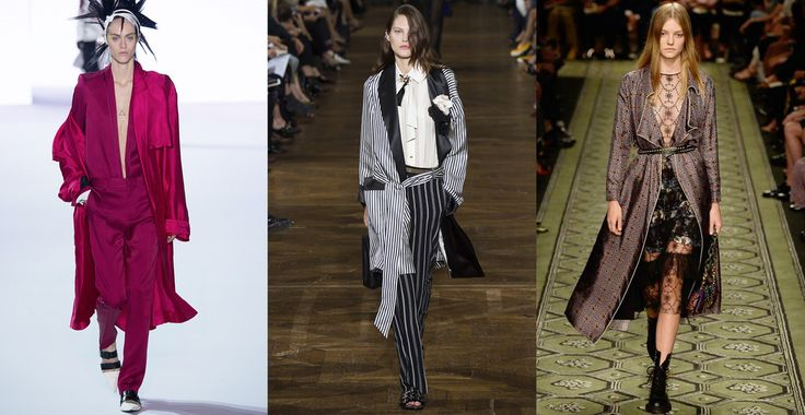 After-hours robes    Masculine sensuality met boudoir elegance as wrap jackets and gowns showed yet again that loungewear isn't best kept for after dark.    From left to right: Haider Ackermann, Lanvin, Burberry