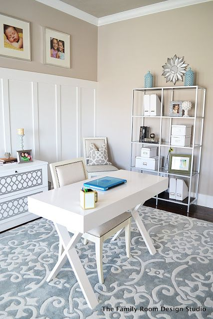 Beautiful home office using furniture from IKEA & Cost Plus, grays and blues