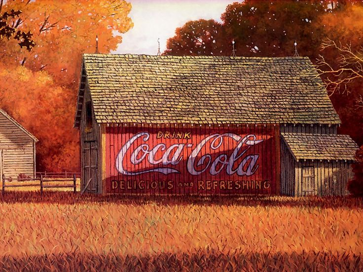 97 best images about barn art on pinterest - Vintage coke wallpaper ...
