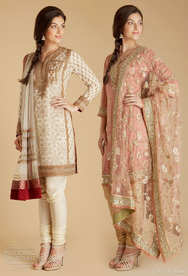 Ritu Kumar designer collection churidar salwar kameez - Red and cream shimmering georgette kurta with zardozi embroidery, Pink satin kurta with gota embroidery  with silk churidar pants with drawstring closure and poly net dupatta