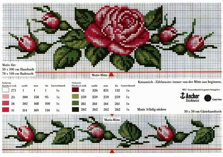 Schemi a punto croce gratuiti per tutti: Raccolta schemi di rose e boccioli a punto croce