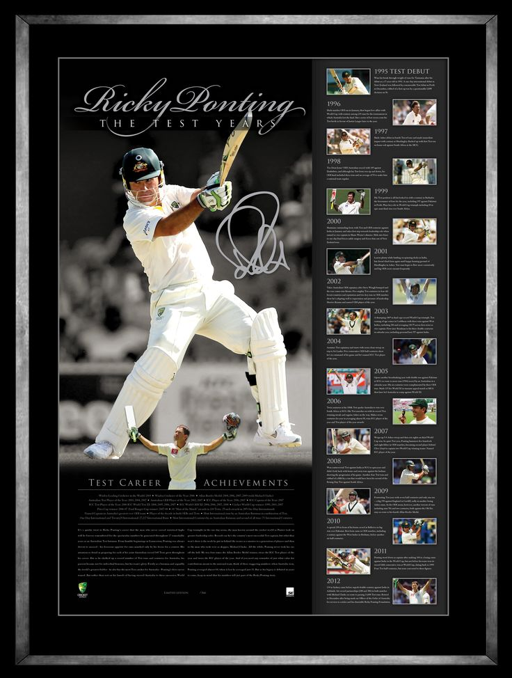 Ricky Ponting exits the game as a player who has captivated audiences for almost two decades.  finishes his career with 168 test matches to his name, equal with the great Steve Waugh as Australia's most capped Test player. Personally signed by Ricky Ponting Officially licensed by Cricket Australia Authenticated by A-Tag Accompanied with a Certificate of Authenticity Limited in edition to 366 units only worldwide (Ricky's test cap number) Approx framed size 800mm x 600mm