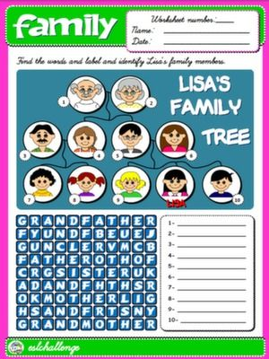 FAMILY WORKSHEET 1 (AVAILABLE IN B&W)