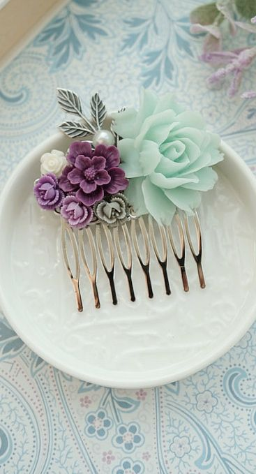 Large Mint Rose, Dark Purple, Grey, Gray, Ivory Amethyst, Light Mint Flowers Hair Comb. Bridesmaid Gifts Mint Wedding, Purple and Mint Green, https://www.etsy.com/listing/158179008/large-mint-rose-dark-purple-grey-gray?ref=shop_home_active_5
