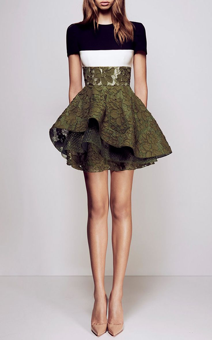 Delphine Satin Crepe Sleeve Floral Lace Mini by ALEX PERRY Now Available on Moda Operandi