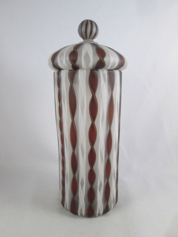 Vintage Murano Matte Zanfirico Latticino Filigree Glass Jar Canister Dispenser