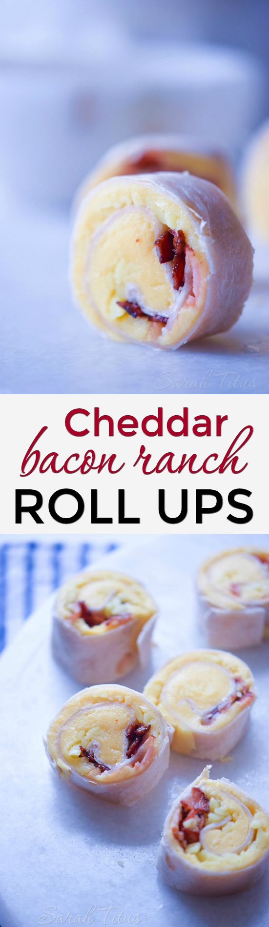 Perfect for your next get-together or add them to your husband's lunch box, these cheddar bacon ranch roll ups are super creamy and packed with the bold flavors of bacon and ranch.