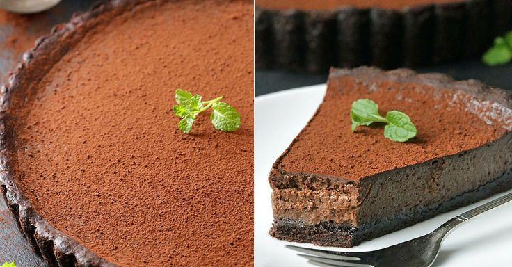 Krémový čokoládový koláč s mátou