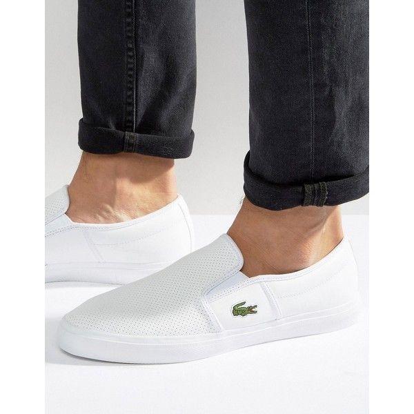 Lacoste Gazon Leather Slip On Plimsolls ($84) via Polyvore featuring men's fashion, men's shoes, men's sneakers, white, mens wide shoes, mens wide sneakers, mens white leather shoes, lacoste mens shoes and mens slip on sneakers