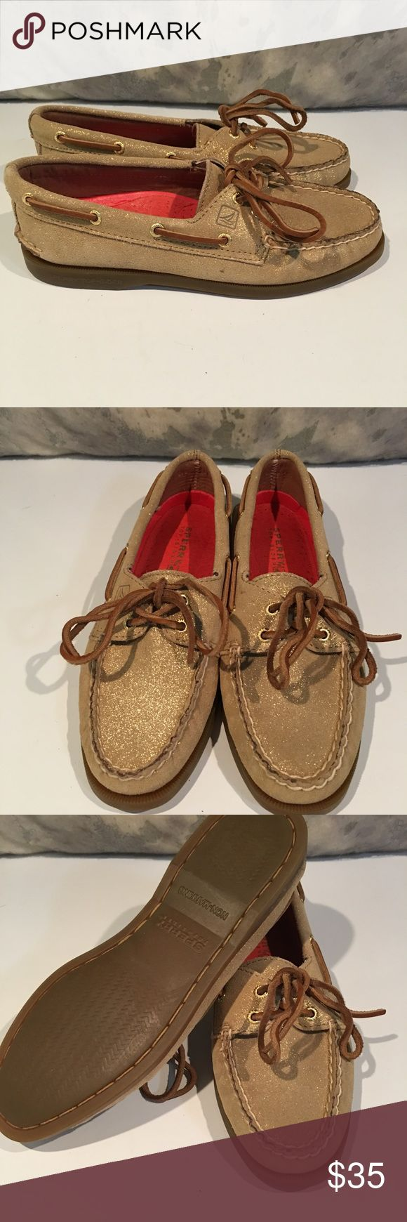 BRAND NEW WITHOUT TAGS SPERRY GLITTER GOLD Size These are BRAND NEW.  Size 6.5.  Glittery gold.  We are cleaning out closets and have many designer items that need to find a new closet.  PRICED TO SELL QUICKLY!!! Bundle bundle bundle for additional savings. Sperry Shoes Flats & Loafers