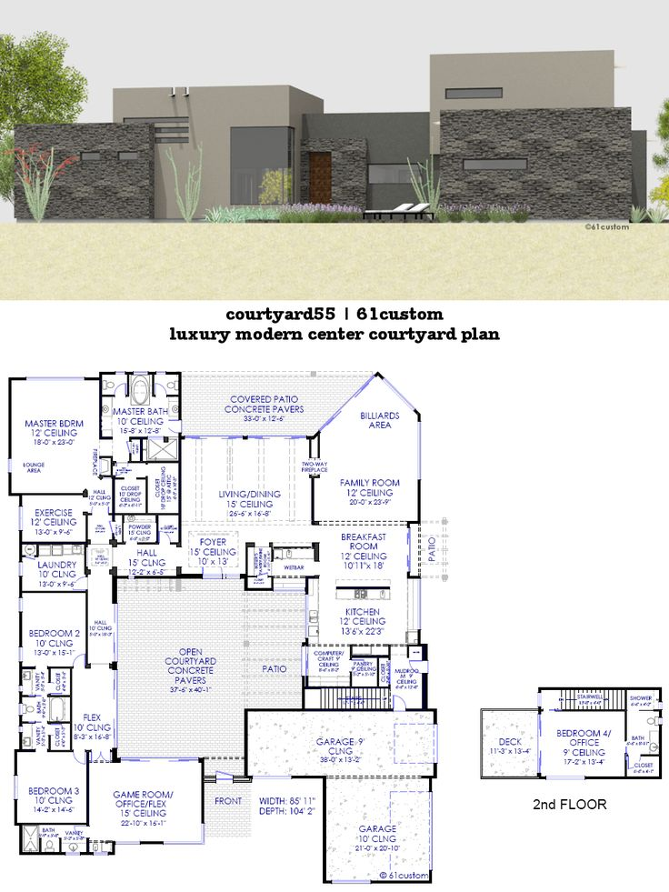 Luxury Modern Courtyard House Plan Front Courtyard