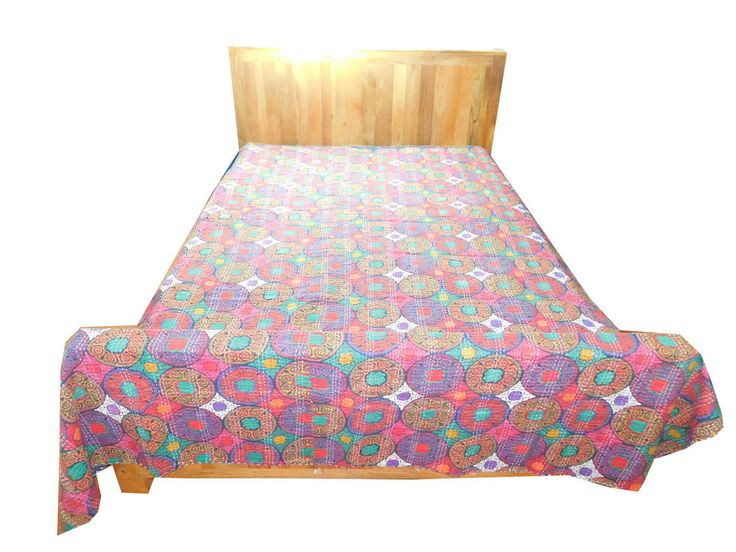 New Kantha Quilt Reversible Bedspread Throw Wall Hanging Indian Bedding Edh FB14 #Handmade #Traditional
