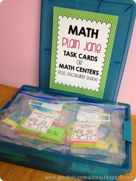 35 Math Centers or Task Cards - great for review year round! Super simple to prep! - addition, subtraction, missing addends, telling time, clocks, & more!