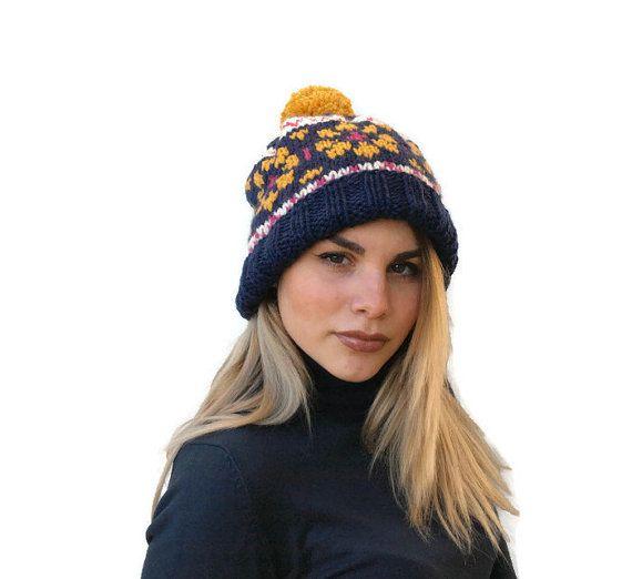 Knit fair isle hat  Pom pom hat Navy blue knit by PepperKnit