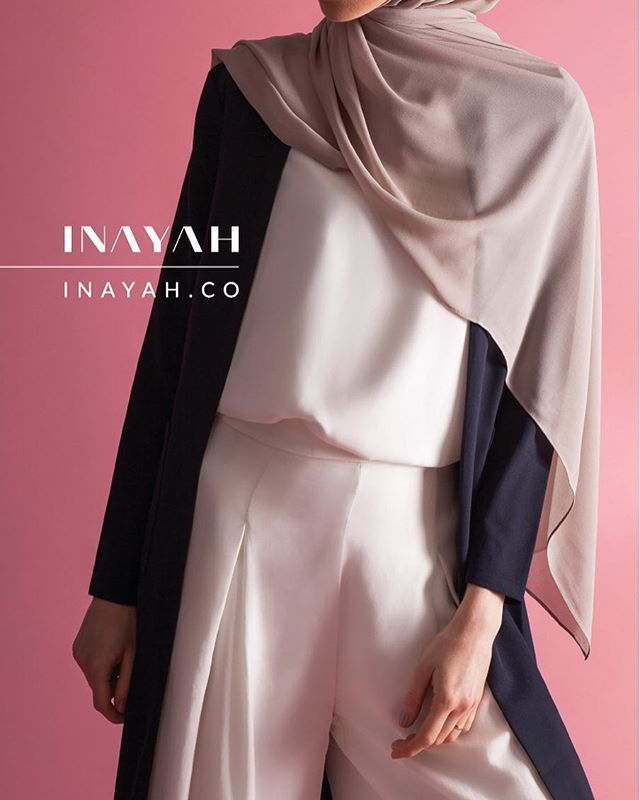 White Crepe Top White Pleat Front Palazzos Navy Maxi Coat with Pockets Light Mushroom Soft Crepe hijab (Regular) www.inayah.co