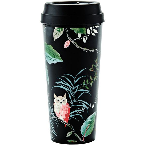 kate spade new york Thermal Mug - Birch Way ($21) ❤ liked on Polyvore featuring home, kitchen & dining, drinkware, black, kate spade and kate spade thermal mug
