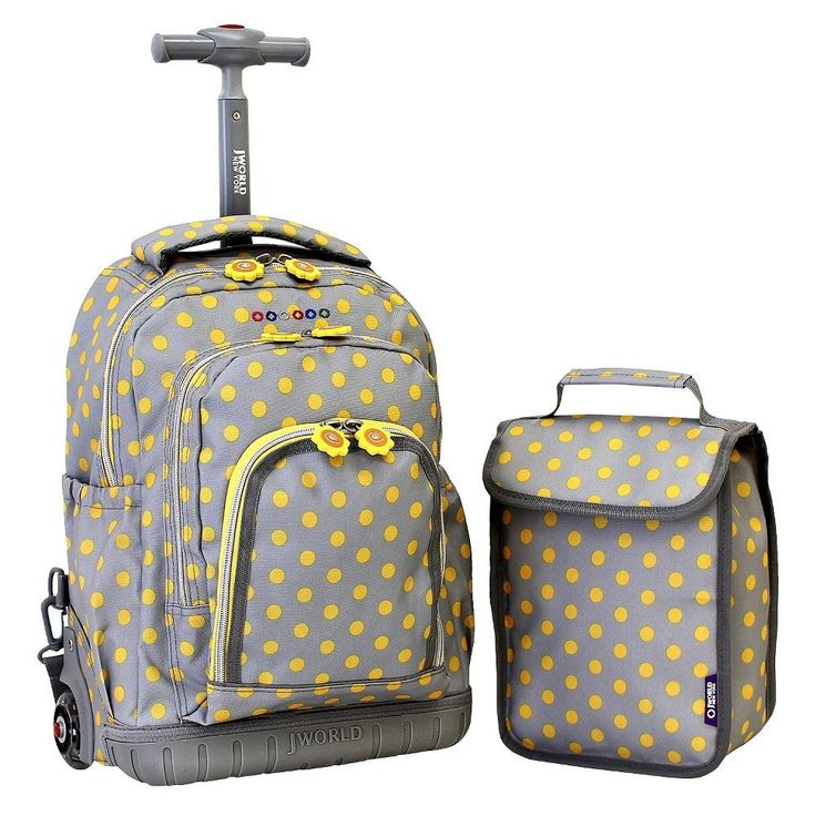 J World 16 Lollipop Rolling Backpack with Lunch Kit - Grey/Yellow