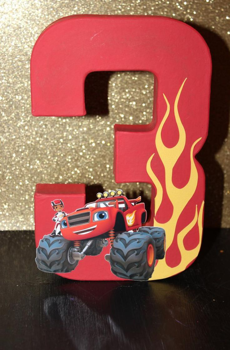 Blaze and the monster machine inspired cake topper blaze