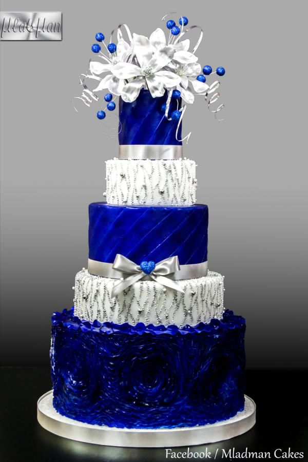 Royal Blue - Silver Wedding Cake by MLADMAN - http://cakesdecor.com/cakes/237543-royal-blue-silver-wedding-cake