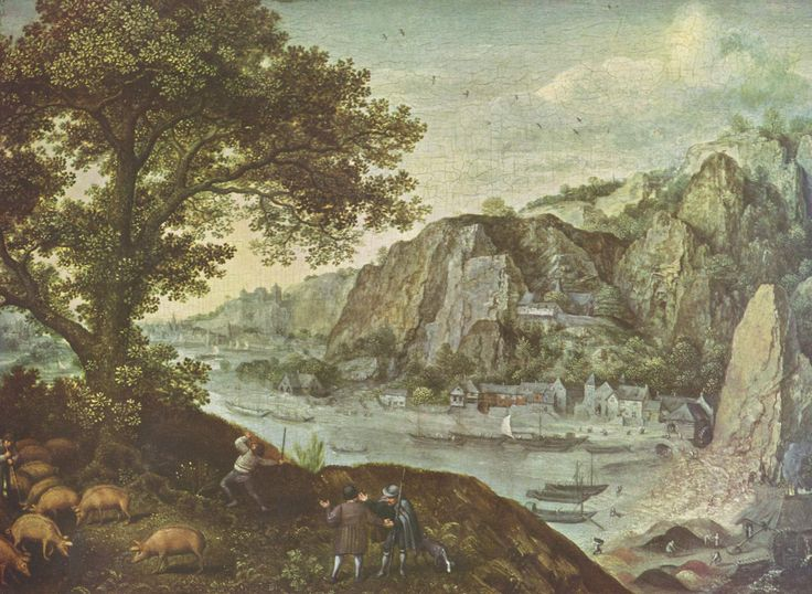 Lucas van Valckenborch, La ville de Huy vue d'Ahin (vallée de la Meuse). Antwerpen, Koninglijk Museum voor Schonen Kunsten.