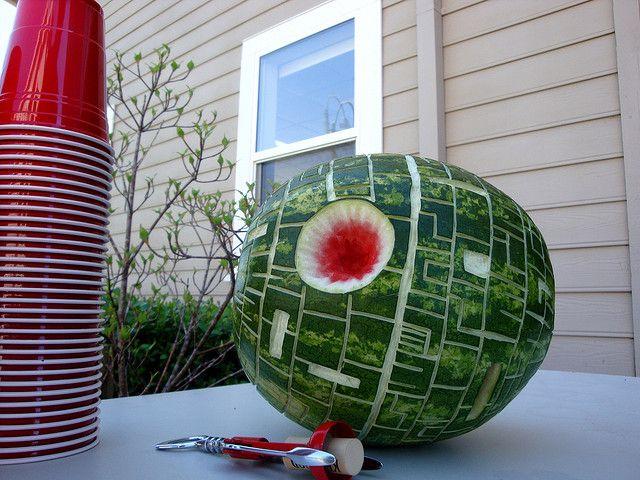 Death Star by Silverisdead #Watermeloon #Death_Star #SilverisdeadGeek, Birthday, Deathstar, Death Stars, Stuff, Food, Stars Wars Parties, Stars Watermelon, Starwars