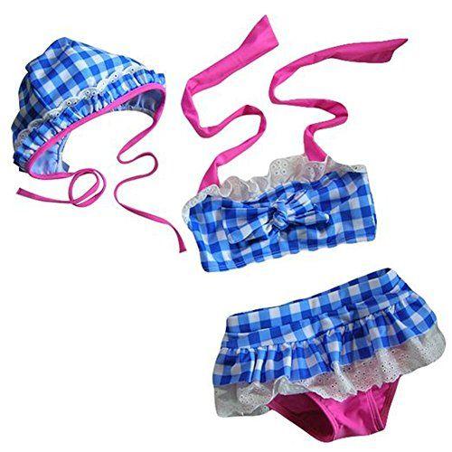 Arrowhunt Baby M�dchen Zweiteilige Neckholder Bunt Karo Bademode Badeanzug mit Hut( Geeignet f�r 1-7 Jahre Alte)