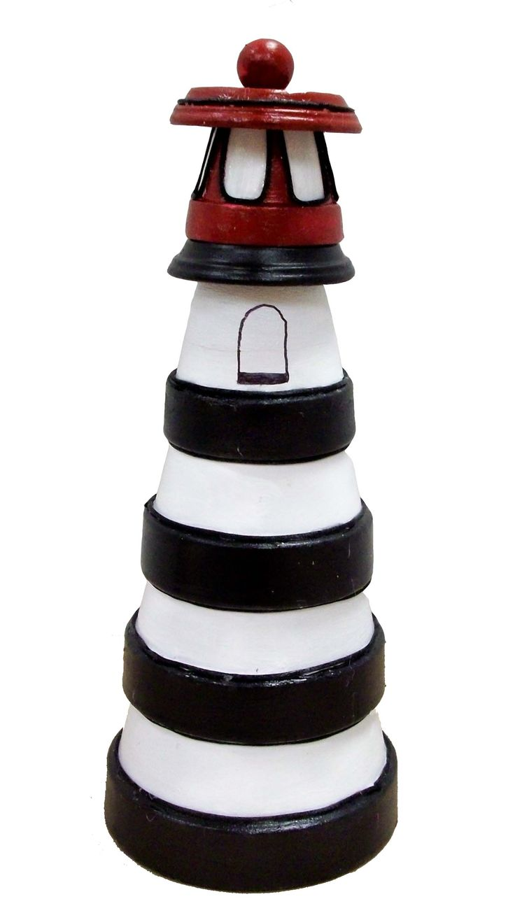 Clay Pot Lighthouse by Karen S. A.C. Moore Erie, PA #claypot #craft