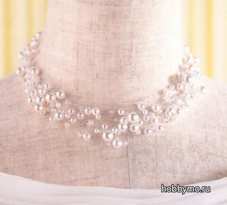 Свадебные ожерелья и колье из бисера своими руками