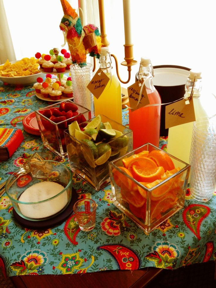 """""""Sexico in Mexico"""" fiesta-themed bachelorette party. Margarita bar with fruit."""