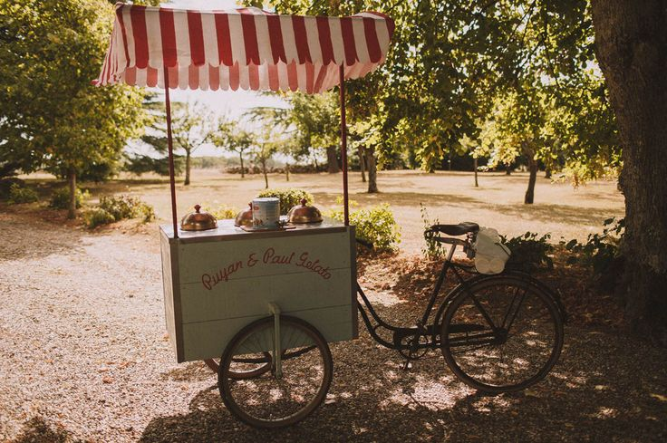 French countryside Wedding with a vintage bicycle car for ice cream