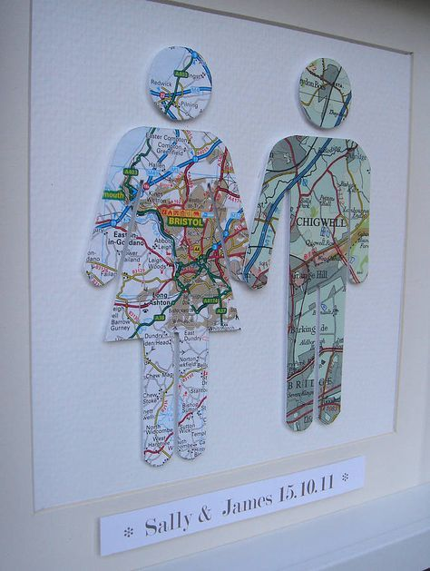 Choose the city where each of you are from.and create a personalised couple map picture framed by little bird designs |