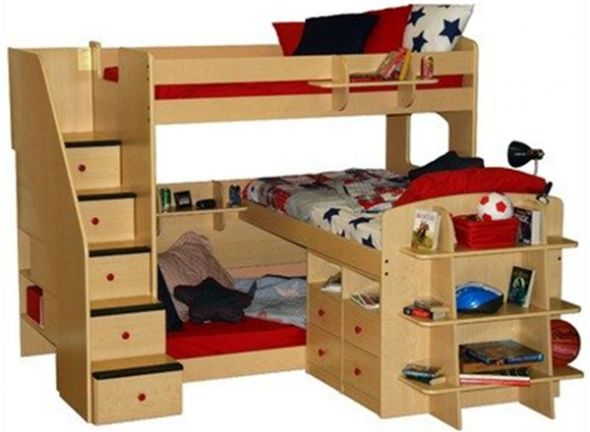 Bunk Beds For Three Maybe Move The Mid Level Bed To The