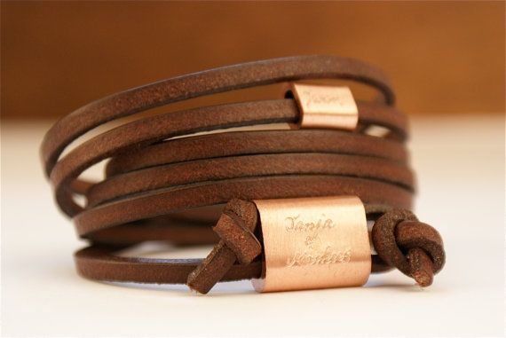 Personalized engraved leather bracelet copper Wrap by zeitreise. , via Etsy.