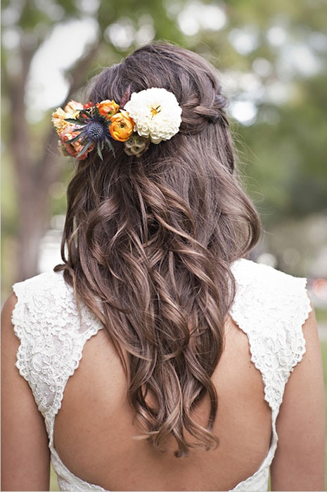 These flowers are a little bigger than what I plan on having, but they look great in brunette hair!